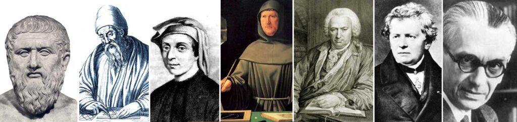 En orden: Platón, Eúclides, Fibonacci, Lucca Pacioli, Charles bonnet, Martín Ohm y Mark Barr