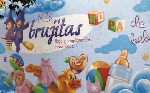 """Mural realizado para """"Mis brujitas"""" Madrid 2015."""