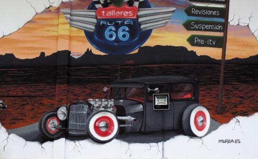 "Mural decorativo para talleres ""Ruta 66"" Madrid 2015."
