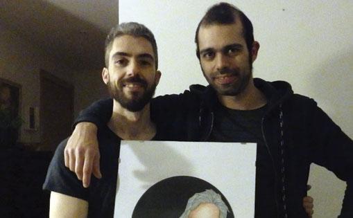 Con Alberto Herrasti, productor musical y su cuadro - vinilo.