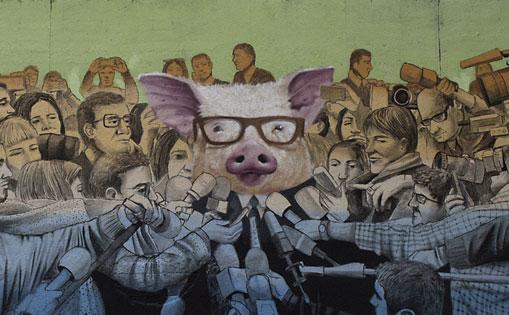 Mural realizado por libre, 'Rueda de prensa' Madrid 2017