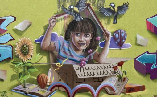 Mural realizado por libre, 'Beso binario' Madrid 2017