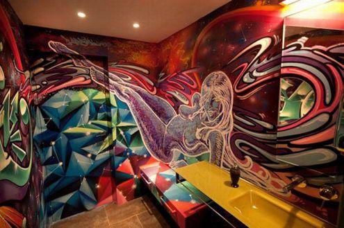 graffiti profesional en aseos