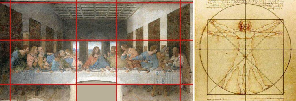 Proporción áurea en la última cena y el hombre de Vitrubio.