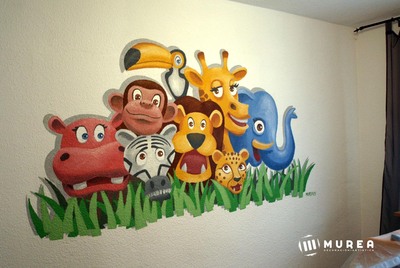 Murales infantiles pintados a mano en madrid - Perchas infantiles de pared ...