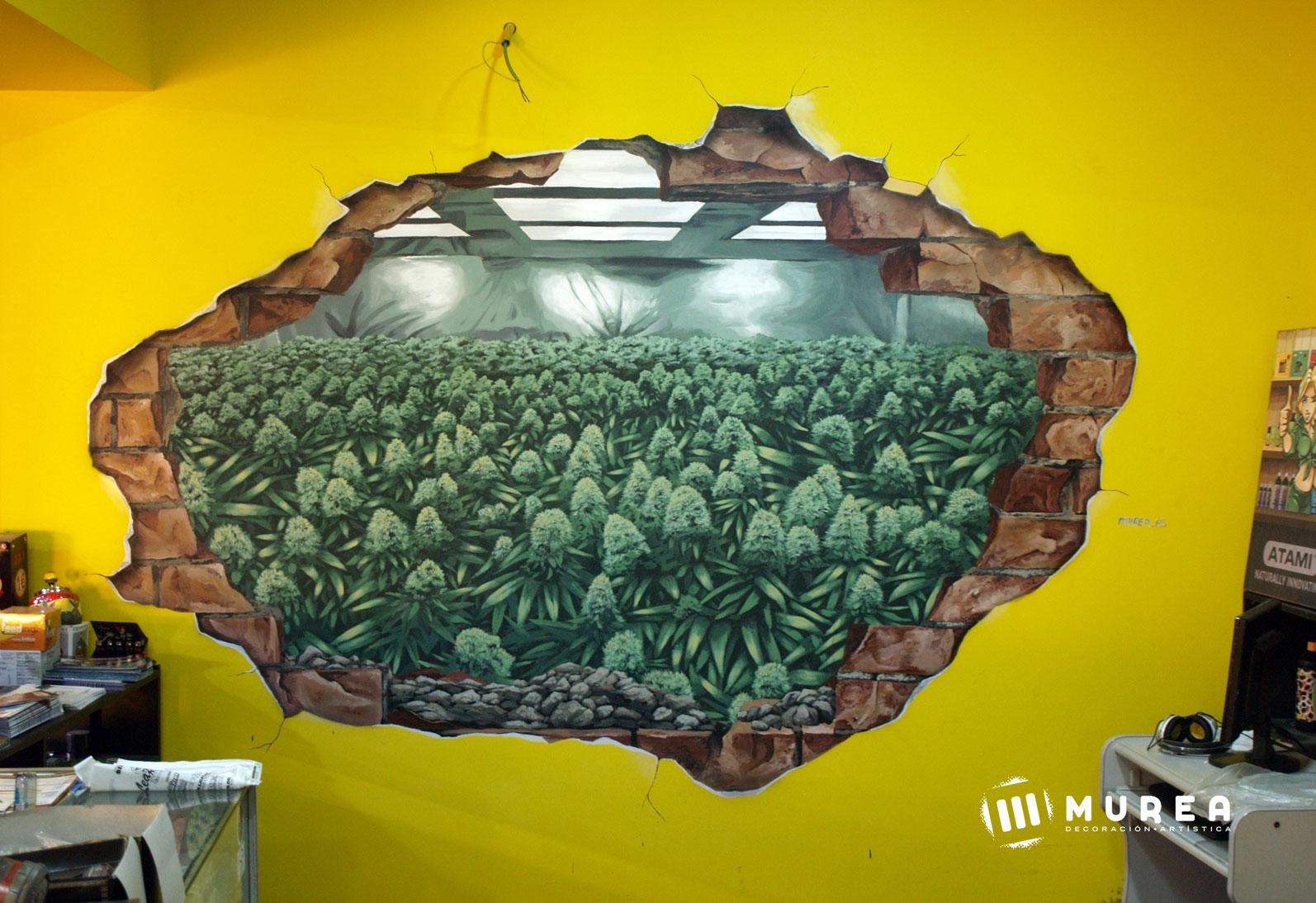 """Mural interior para Grow shop, """"The power garden"""" Madrid 2016"""