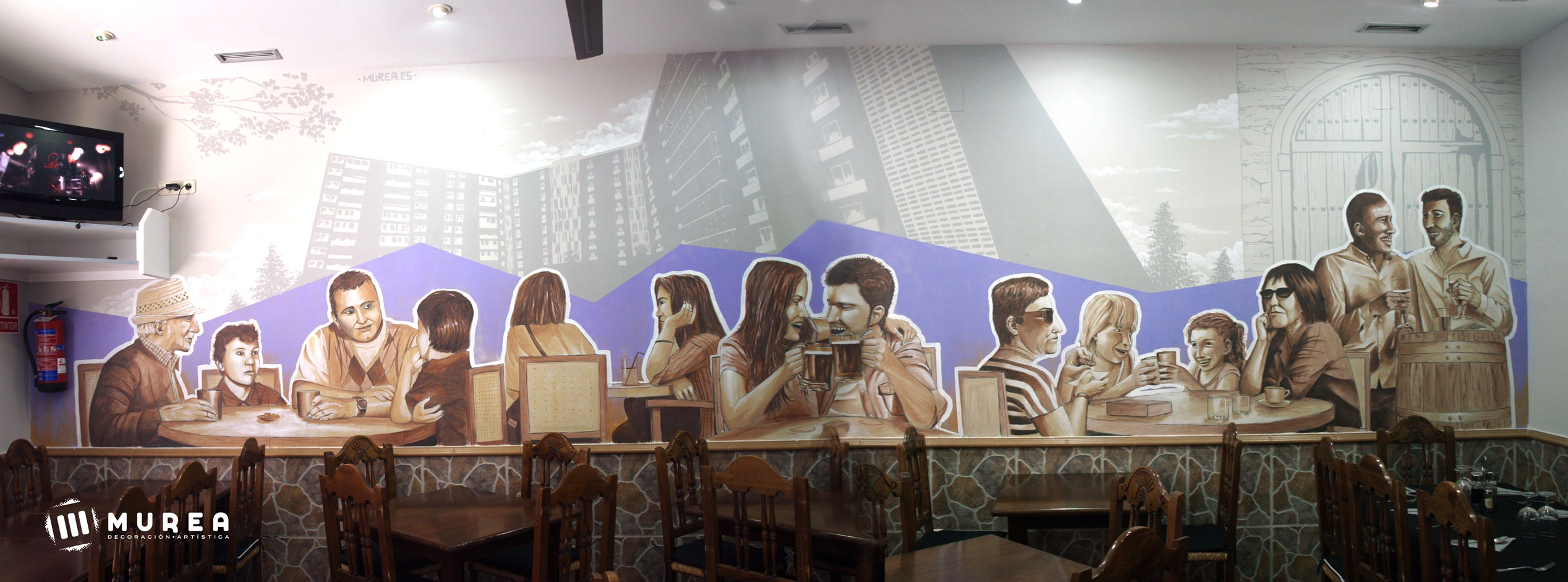 "Mural interior para restaurante ""La flechita"" Madrid 2016"