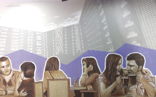 Mural interior para restaurante