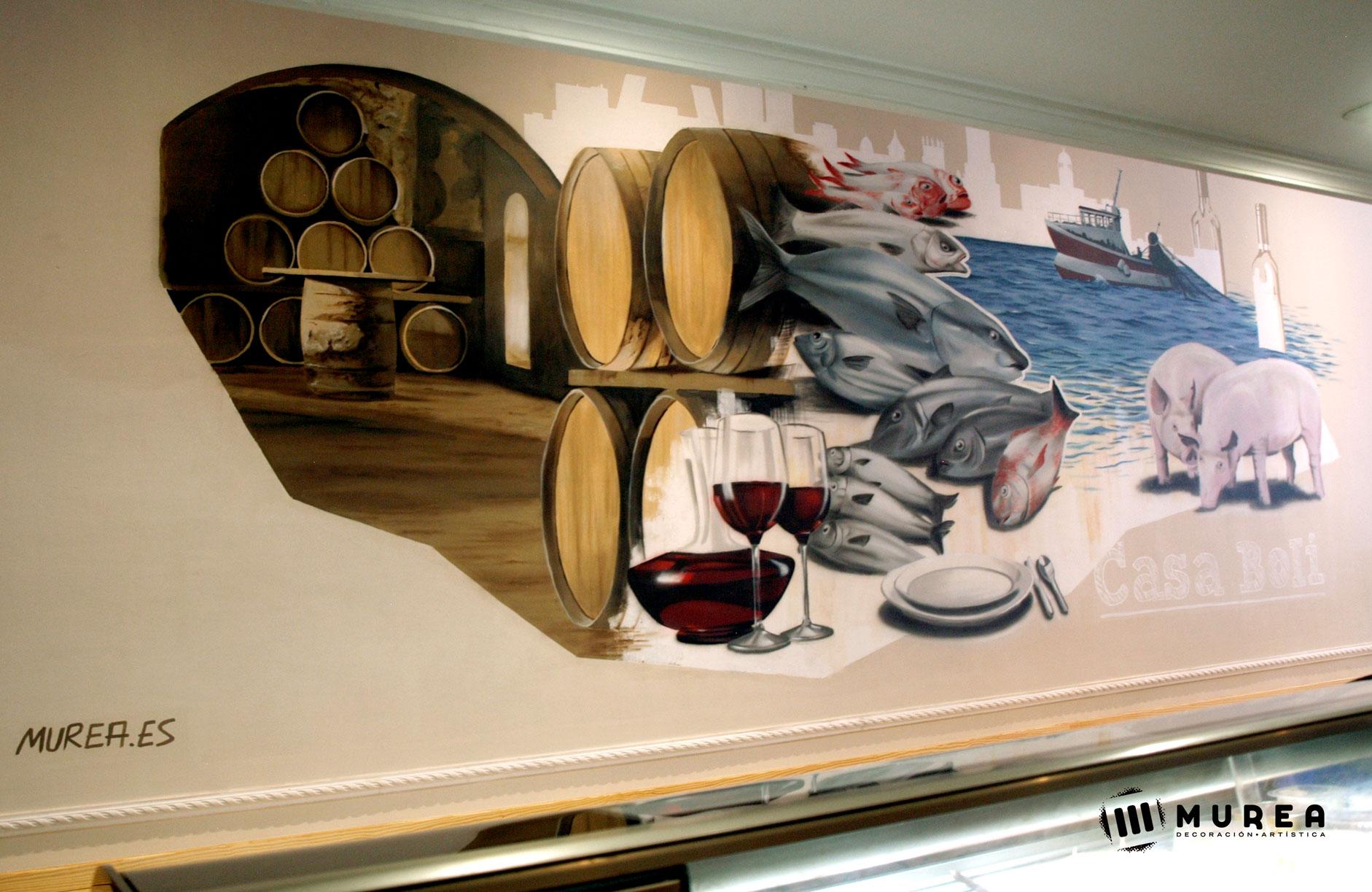 """Mural realizado para bar - restaurante """"Casaboli"""" Madrid 2016"""