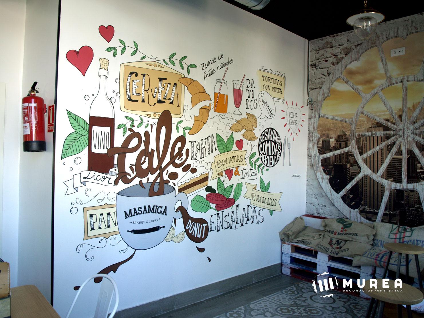 """Mural realizado para cafeteria """"Masamiga"""" Madrid 2016"""