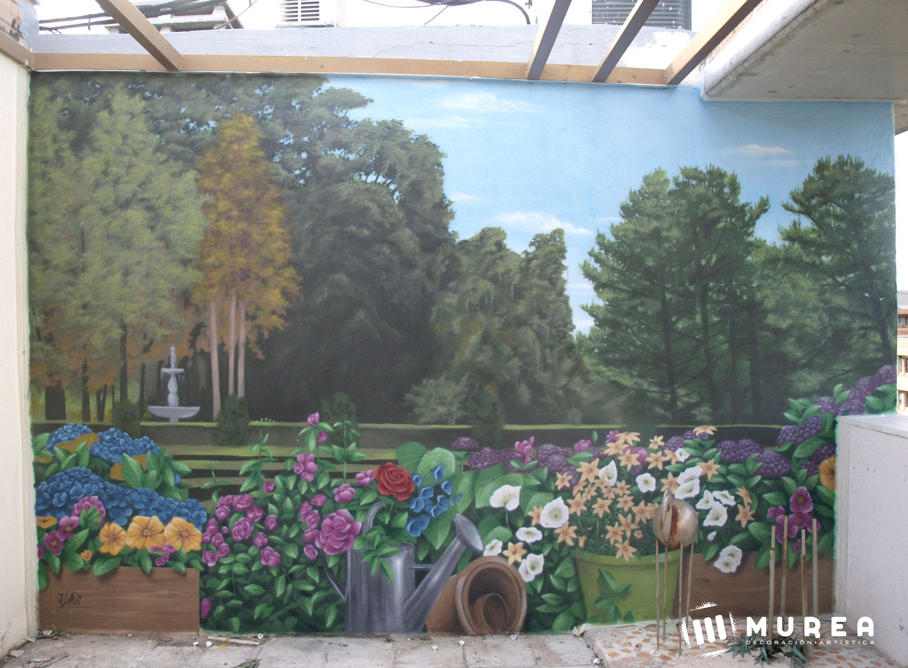 """Mural para particular en ático """"Jardín"""" Madrid 2017."""