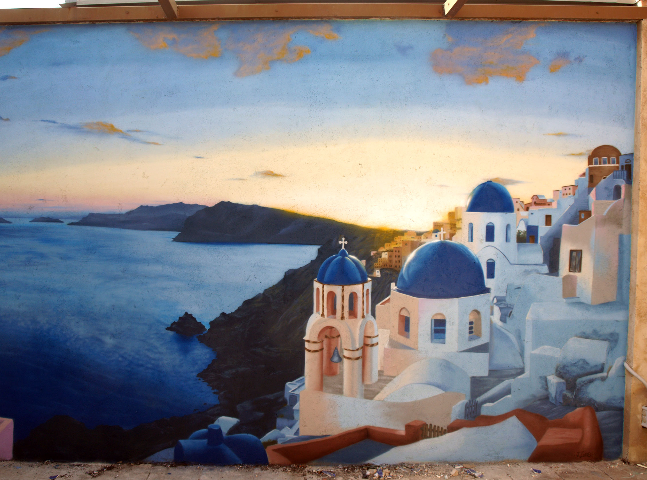 "Mural ""Santorini"" Realizado para particular."