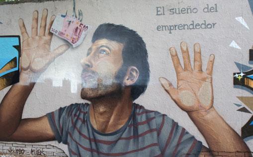 Mural realizado por libre 'El sueño del emprendedor' Madrid 2017
