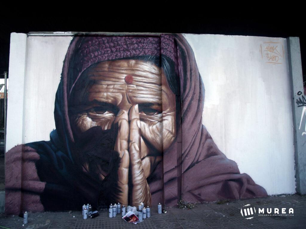 """""""Namasté"""" mural para el festival """"Meetic of style"""" Estación de chamartín, Madrid 2018."""