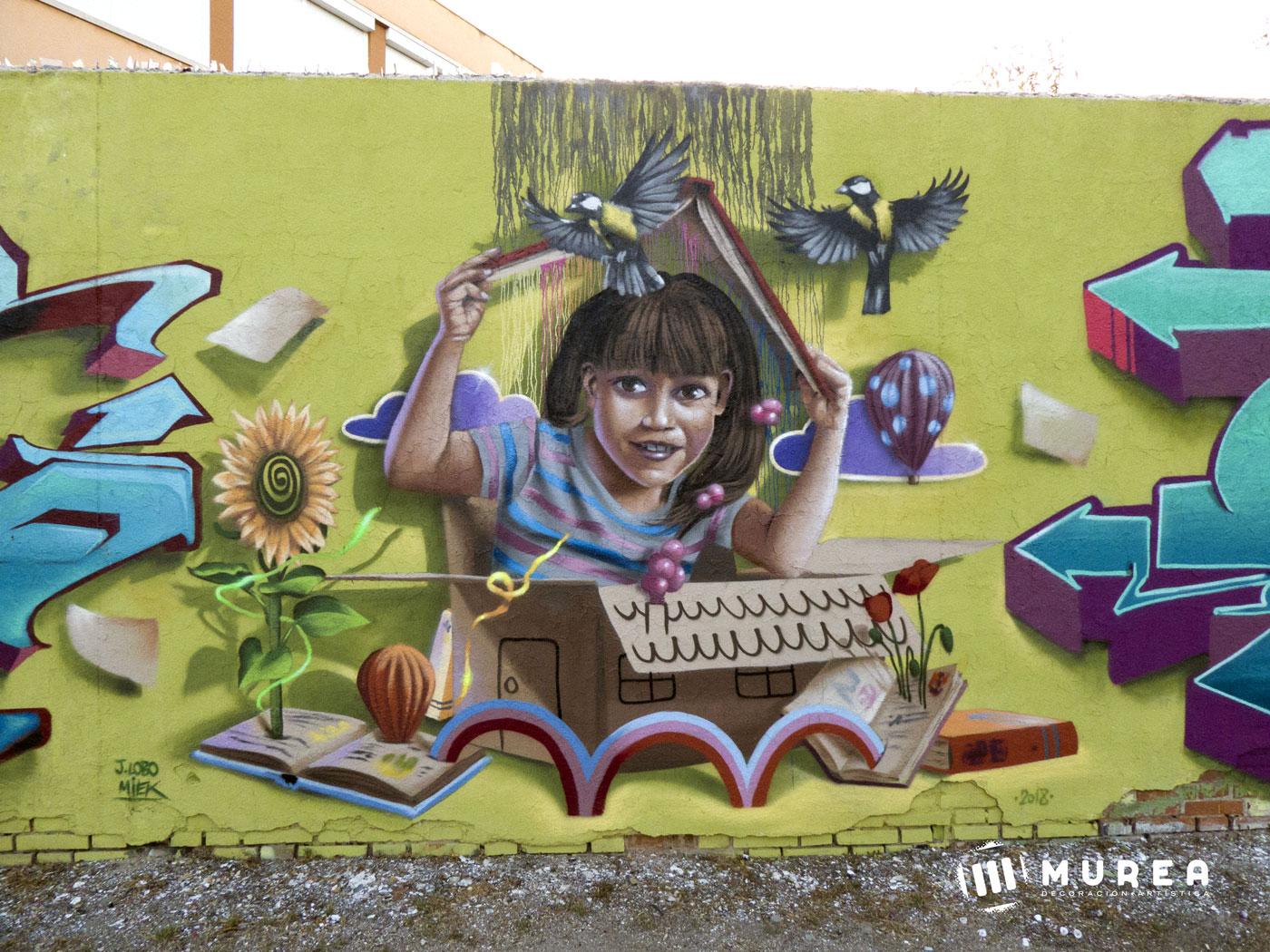 "Mural realizado por libre ""Lectura"" Madrid 2018."