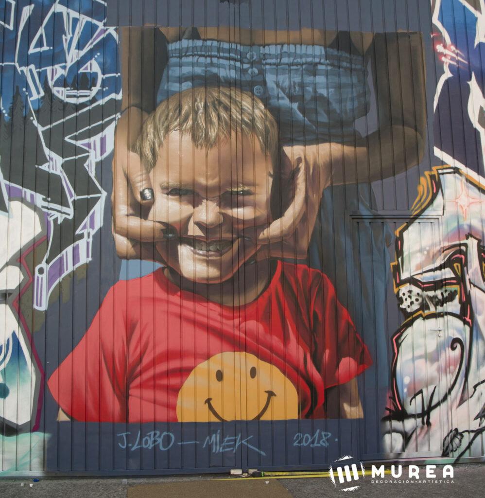 """Obligado a sonreir"" Mural realizado para el festival Ulitza festival."