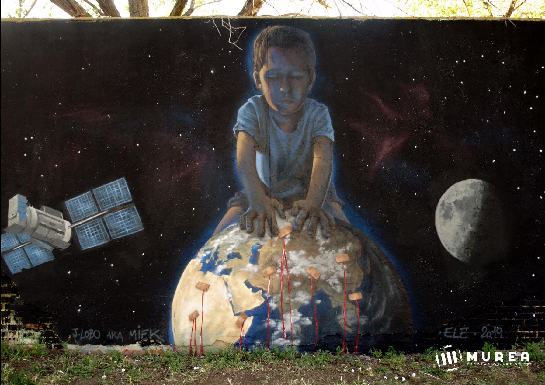 """Tiritas"" Mural realizado por libre. Madrid 2019."