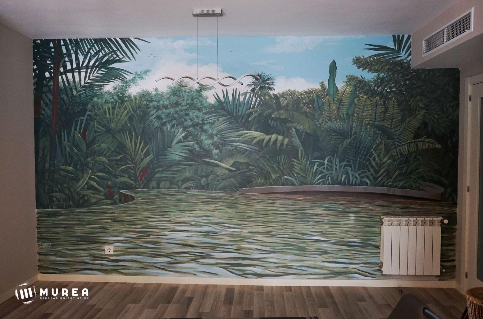 Mural para salón, basado en una imágen de Costa Rica. Madrid 2020.